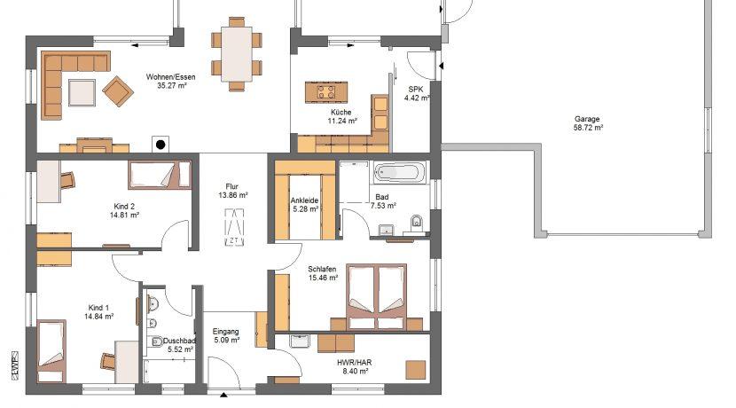 Bungalow141WD+GA60PD_Bauantrag - Ansichten_EG-Entwurf