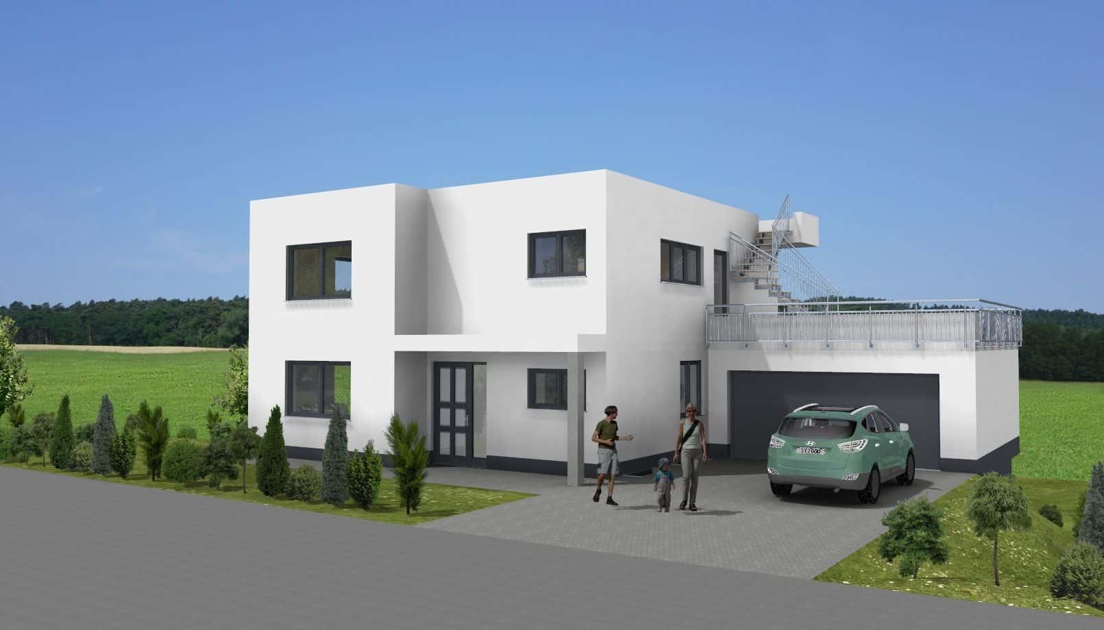 Modernes Flachdachhaus im Bauhaus-Stil mit Garage in 98597 Fambach OT Heßles